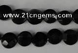 CBS292 15.5 inches 10mm faceted coin blackstone beads wholesale