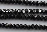 CBS506 15.5 inches 2*3mm faceted rondelle A grade black spinel beads