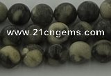 CBW162 15.5 inches 8mm round matte black fossil jasper beads