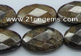 CBZ19 15.5 inches 20*30mm faceted oval bronzite gemstone beads