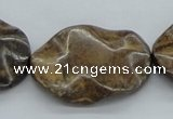 CBZ21 15.5 inches 25*35mm lotus leaf form bronzite gemstone beads