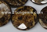 CBZ435 15.5 inches 30mm faceted coin bronzite gemstone beads