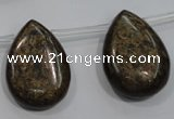 CBZ503 Top-drilled 15*20mm flat teardrop bronzite gemstone beads