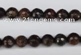 CBZ94 15.5 inches 8mm faceted round bronzite gemstone beads