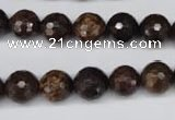 CBZ95 15.5 inches 10mm faceted round bronzite gemstone beads