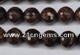 CBZ96 15.5 inches 12mm faceted round bronzite gemstone beads