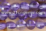 CCB531 15.5 inches 4mm faceted coin amethyst gemstone beads