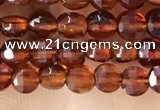 CCB536 15.5 inches 4mm faceted coin orange garnet beads wholesale