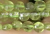 CCB547 15.5 inches 4mm faceted coin peridot gemstone beads