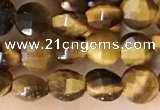CCB555 15.5 inches 4mm faceted coin yellow tiger eye beads