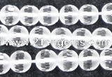 CCC612 15.5 inches 8mm faceted round matte natural white crystal beads