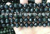 CCJ345 15.5 inches 10mm faceted round dark green jade beads