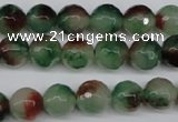 CCN1304 15.5 inches 10mm faceted round rainbow candy jade beads