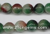 CCN1305 15.5 inches 12mm faceted round rainbow candy jade beads