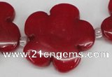 CCN2354 15.5 inches 30mm carved flower candy jade beads wholesale