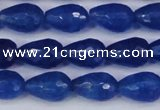 CCN3783 15.5 inches 8*12mm faceted teardrop candy jade beads