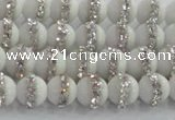 CCN4600 15.5 inches 6mm round candy jade with rhinestone beads