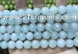CCN5780 15 inches 10mm faceted round candy jade beads