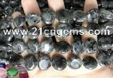 CCN5918 15 inches 15mm flat round black labradorite beads Wholesale