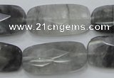CCQ190 15.5 inches 15*30mm faceted rectangle cloudy quartz beads