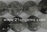 CCQ373 15.5 inches 18mm flat round cloudy quartz beads wholesale