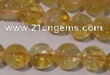 CCR230 15.5 inches 8mm flat round natural citrine gemstone beads