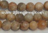 CCS312 15.5 inches 10mm faceted round natural sunstone beads