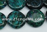 CCS437 15.5 inches 20mm flat round dyed chrysocolla gemstone beads