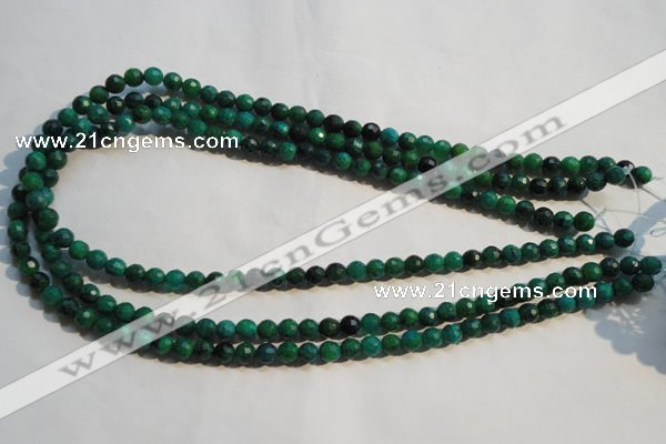 CCS601 15.5 inches 6mm faceted round dyed chrysocolla gemstone beads