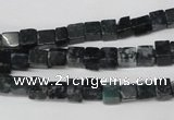 CCU17 15.5 inches 4*4mm cube moss agate beads wholesale