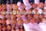 CCU402 15.5 inches 8*10mm - 14*16mm cube red agate beads
