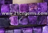 CCU454 15.5 inches 4*4mm cube purple crazy lace agate beads