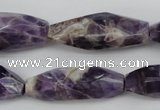 CDA29 15.5 inches 12*30mm – 13*36mm faceted rice dogtooth amethyst beads