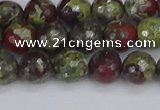 CDB330 15.5 inches 8mm faceted round A grade dragon blood jasper beads