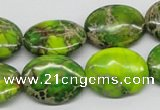 CDE100 15.5 inches 18*25mm oval dyed sea sediment jasper beads