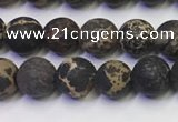CDE1046 15.5 inches 6mm round matte sea sediment jasper beads