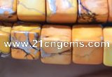 CDE1110 15.5 inches 8*8mm cube sea sediment jasper beads