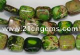 CDE120 15.5 inches 10*10mm square dyed sea sediment jasper beads