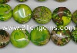 CDE123 15.5 inches 14mm flat round dyed sea sediment jasper beads