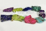 CDE1438 25*35mm - 35*45mm freefrom sea sediment jasper slab beads