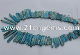 CDE1513 Top drilled 5*15mm - 6*55mm sticks sea sediment jasper beads