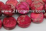 CDE17 15.5 inches 16mm coin dyed sea sediment jasper beads