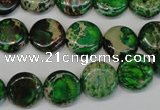 CDE170 15.5 inches 12mm flat round dyed sea sediment jasper beads