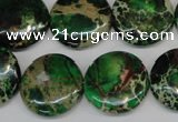 CDE174 15.5 inches 20mm flat round dyed sea sediment jasper beads
