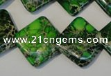 CDE207 15.5 inches 20*20mm diamond dyed sea sediment jasper beads