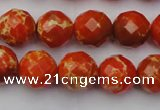CDE2102 15.5 inches 10mm faceted round dyed sea sediment jasper beads