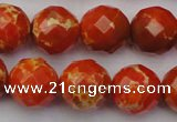 CDE2105 15.5 inches 16mm faceted round dyed sea sediment jasper beads
