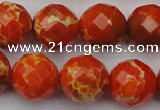 CDE2106 15.5 inches 18mm faceted round dyed sea sediment jasper beads