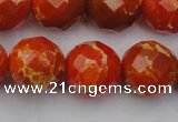 CDE2107 15.5 inches 20mm faceted round dyed sea sediment jasper beads