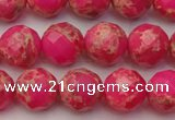 CDE2112 15.5 inches 10mm faceted round dyed sea sediment jasper beads